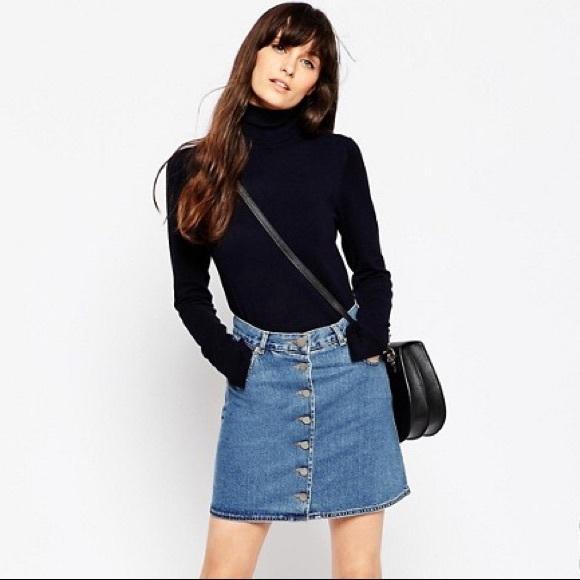 0427799331 ASOS Dresses & Skirts - ASOS Denim Dolly Button Through Skirt blue ...
